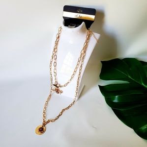 NOir Double Strand Bumble Bee Chain Long Necklace